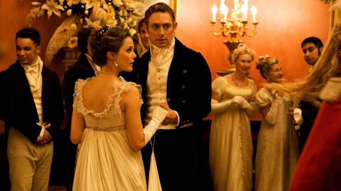 """This undated publicity photo provided by the Sundance Institute shows Keri Russell, left, and JJ Feild, in a scene from the film, """"Austenland,"""" included in the U.S. Dramatic Film competition at the 2013 Sundance Film Festival. (AP Photo/Sundance Institute)"""