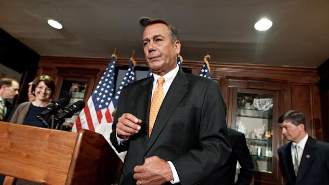 House Speaker John Boehner of Ohio, and other GOP leaders finish a news conference at the Republican National Committee on Capitol Hill in Washington, Wednesday, Aug. 1, 2012.   (AP Photo/J. Scott Applewhite)