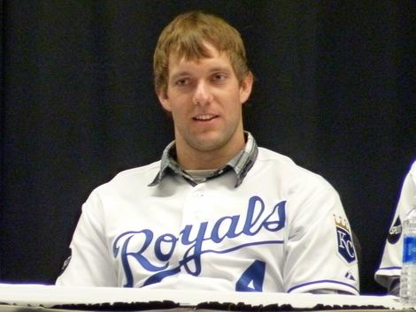 Alex Gordon at the Royals Caravan stop in Omaha, Neb., at the Salvation Army Kroc Center on Jan. 12.