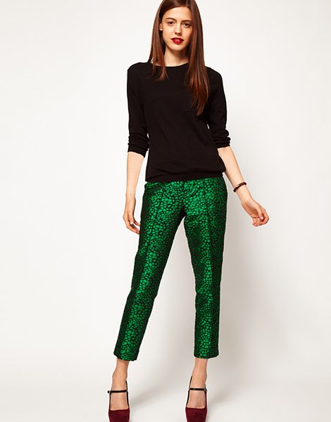 Spot jacquard trousers, $79.16, asos.com