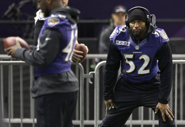 Baltimore Ravens linebacker Ray Lewis stretches during an NFL Super Bowl XLVII walkthrough on Saturday, Feb. 2, 2013, in the Mercedes-Benz Superdome in New Orleans. The Ravens face the San Francisco 49ers in Super Bowl XLVII on Sunday. (AP Photo/Patrick Semansky)