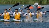 Australia edged out two-time former champions Hungary to claim the Olympic Games four-man kayak gold medal on Thursday. Tate Smith, Dave Smith, Murray Stewart and Jacob Clear steered their country to gold at the Eton Dorney course to the west of London