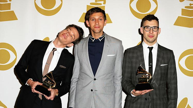 The 55th Annual GRAMMY Awards - Press Room: Nate Ruess, Andrew Dost, and Jack Antonoff of Fun.