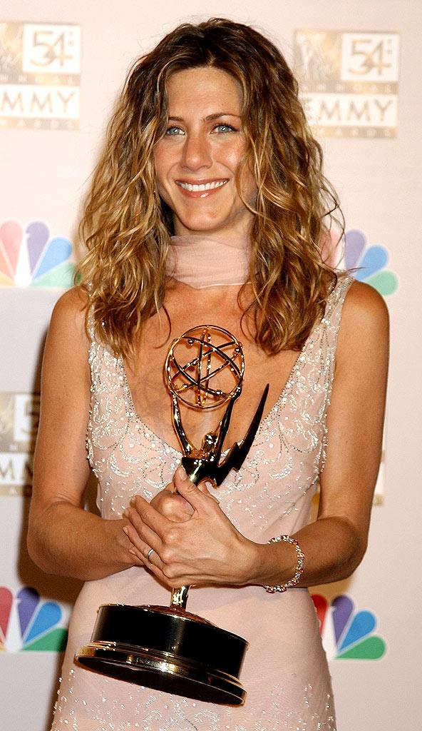 "Jennifer Aniston winner for Outstanding Lead Actress in a Comedy Series for ""Friends"" at The 54th Annual Primetime Emmy Awards."