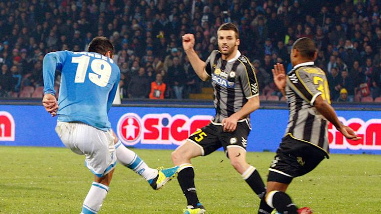 Napoli's Pandev shoots to score his second goal against Udinese during their Italian Serie A soccer match at San Paolo stadium in Naples