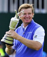 Ernie Els of South Africa holds the Claret Jug, 'The Golf Champion Trophy' after winning the 2012 Open Championship at Royal Lytham and St Annes in Lytham, north-west England. Els won the championship with a score of 273, one shot clear of Adam Scott of Australia