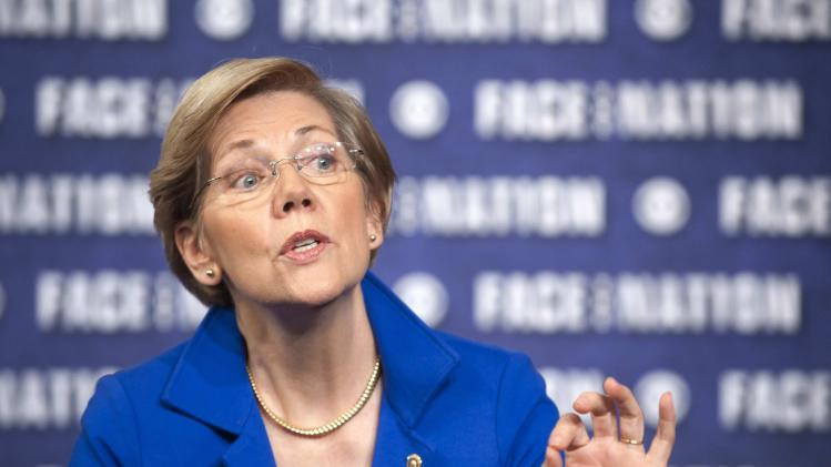 "Senator Elizabeth Warren (D-MA) talks with Bob Schieffer on ""Face the Nation"" in Washington"