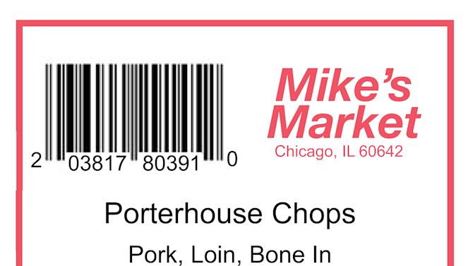 This image released by the National Pork Board shows an example of the updated Uniform Retail Meat Identification Standards (URMIS) label for porterhouse pork chops. The American meat industry is rolling out a refresh of the often confusing 40-year-old system used for naming the various cuts of beef, pork, lamb and veal. That's because the system was designed more for the needs of retailers and butchers than for the convenience of harried shoppers more familiar with Shake 'n Bake than boneless shank cuts. (AP Photo/National Pork Board)