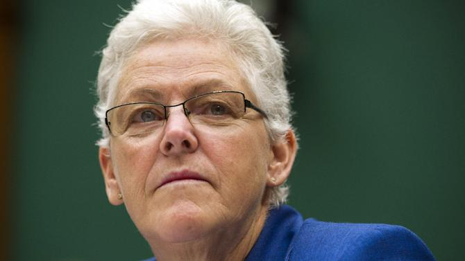 In this Sept. 18, 2013, photo, EPA administrator Gina McCarthy testifies before the House Subcommittee on Energy and Power on Capitol Hill, in Washington. (AP Photo/Cliff Owen)