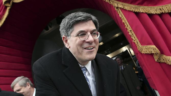 Current White House Chief of Staff Jack Lew, who President Barack Obama has nominated to be the new treasury secretary, arrives on the West Front of the Capitol in Washington, Monday, Jan. 21, 2013, for President Barack Obama's ceremonial swearing-in ceremony during the 57th Presidential Inauguration.  (AP Photo/Win McNamee, Pool