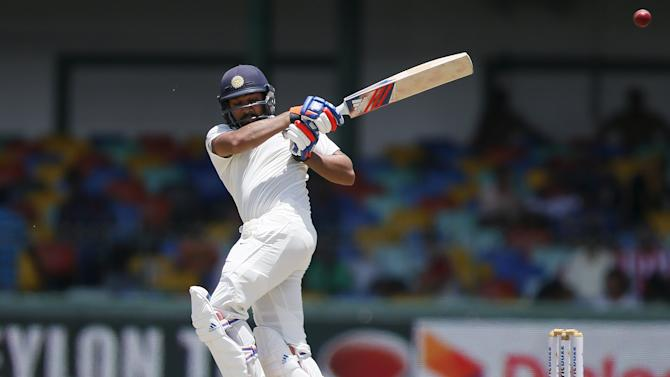 India's Sharma plays a shot during the second day of their third and final test cricket match against Sri Lanka in Colombo