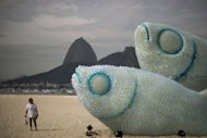 A woman looks at an installation made of recycled plastic bottles representing fishes in Rio de Janeiro. After exhausting negotiations concluding on the eve of a global summit, UN members on Tuesday backed a plan for nursing Earth's sick environment back to health and tackling poverty through greener growth
