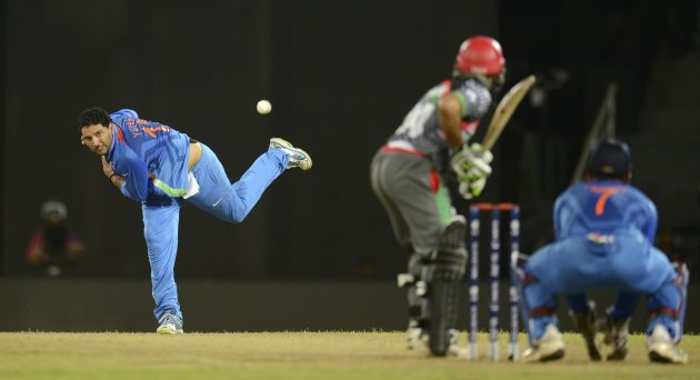 India's Singh bowls during their ICC World Twenty20 group A match against Afghanistan in Colombo