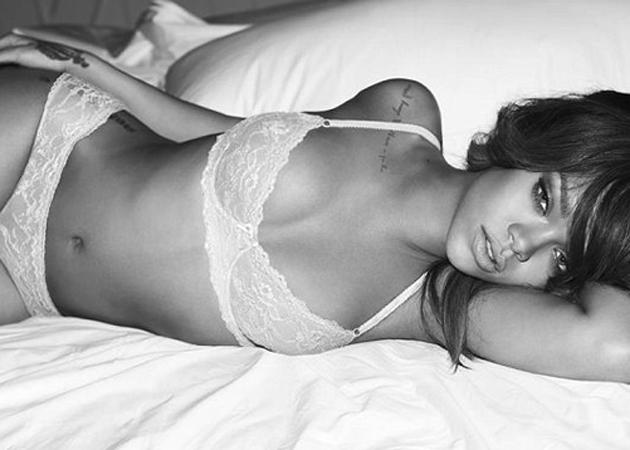Celebrity advertising campaigns: We can always rely on Rihanna to look super sexy and here she is posing in very little for Armani lingerie.