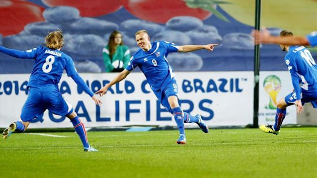 Iceland's Kolbeinn Sigthorsson celebrates after scoring against Norway (AFP)
