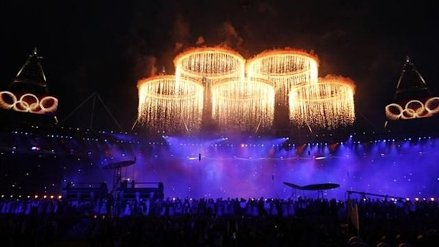 he Olympic rings are seen during a pyrotechnics display at the pre-show before the opening ceremony of the London 2012 Games (Reuters)