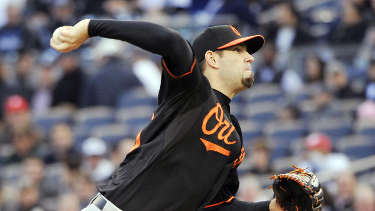Baltimore Orioles' Jason Hammel delivers a pitch during the first inning of Game 5 of the American League division baseball series against the New York Yankees, Friday, Oct. 12, 2012, in New York. (AP Photo/Bill Kostroun)