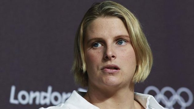 Australian swimmer Leisel Jones looks on during a news conference at the Media Press Centre in London 2012 Olympic Park i
