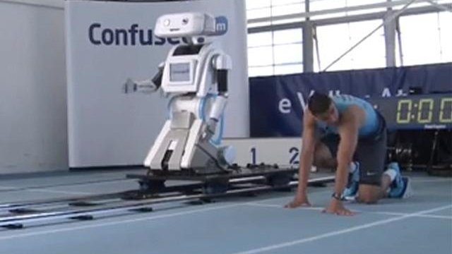 Olympic sprinter takes on robot…and loses