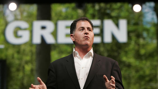 FLE- Dell CEO Michael Dell speaks at Oracle Open World Conference in San Francisco. It's easy to forget now, but Michael Dell was the Mark Zuckerberg of his time. Hailed as a young genius, he created the inexpensive, made-to-order personal computer in his dorm room and peddled it to the masses, but now the PC is being eclipsed by smartphones and tablet computers, and Dell is trying to save his company. (AP Photo/Paul Sakuma)
