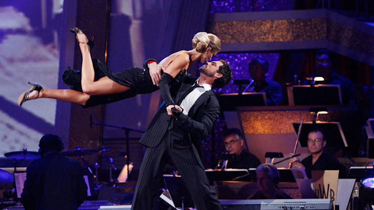 "Joanna Krupa and Makism Chmerkovskiy perform on ""Dancing with the Stars."""
