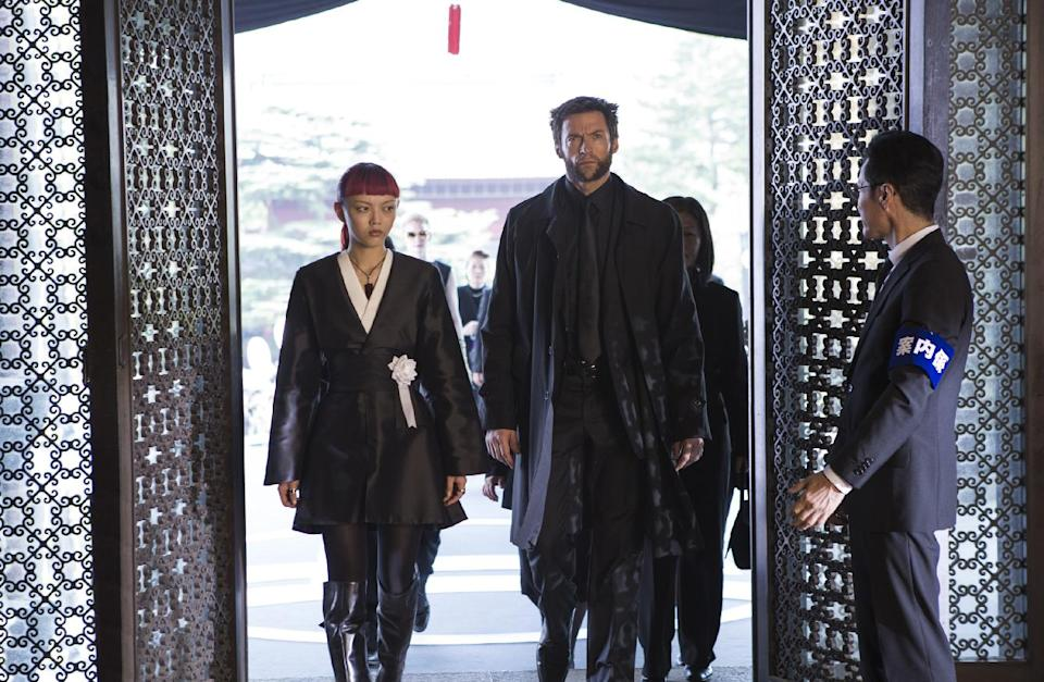 "This publicity image released by 20th Century Fox shows Rila Fukushima, left, and Hugh Jackman in a scene from ""The Wolverine."" (AP Photo/20th Century Fox, Ben Rothstein)"