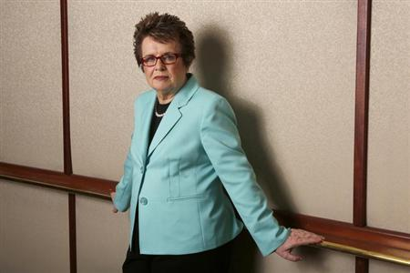 Former tennis player Billie Jean King poses for a portrait while promoting PBS's American Masters series in Beverly Hills, California August 6, 2013. REUTERS/Mario Anzuoni/Files