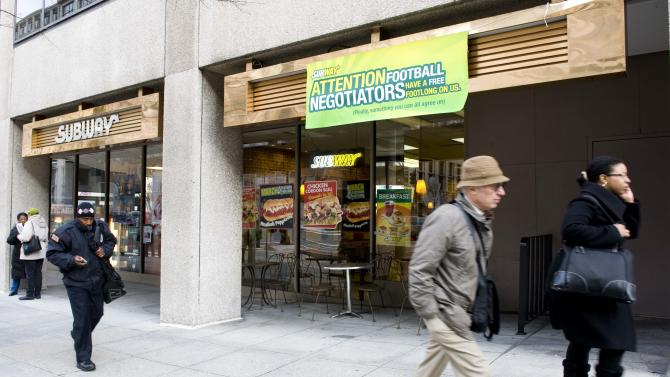 ** COMMERCIAL IMAGE ** In this photograph taken by AP Images for Subway, Subway Restaurants is offering free Footlong sandwiches to all NFL labor negotiators at a local Washington, DC store on Friday, March 11, 2011, which happens to be across the street from the federal mediator's office, in an attempt to fuel discussions and prevent the lockout.   (Kevin Wolf/AP Images for Subway)