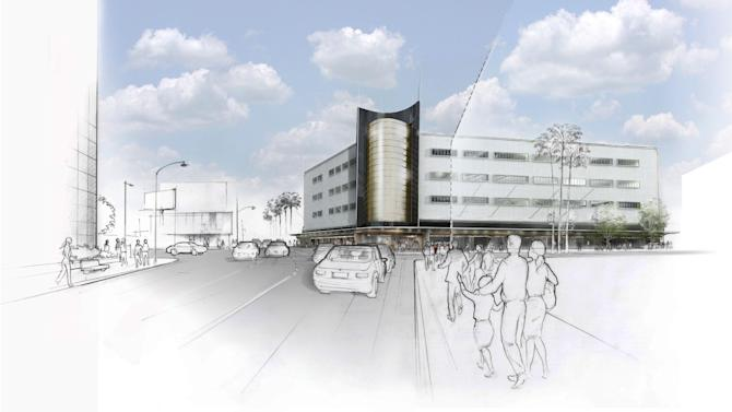 This Oct. 17, 2012 rendering released by AMPAS/Renzo Piano Building Workshop shows the Concept Phase of the new Academy Museum of Motion Pictures, designed by architects Renzo Piano and Zoltan Pali, with a view from Fairfax Avenue looking north in Los Angeles. The Academy of Motion Picture Arts and Sciences announced Thursday, Oct. 18, 2012, that the first major American museum dedicated to film will occupy the historic May Company Wilshire building. Piano and Pali's design restores the street front facades of the 1938 building and will include a new modern movie theater. (AP Photo/AMPAS, Renzo Piano Building Workshop)