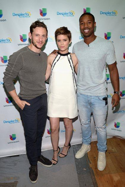 Jamie Bell, Kate Mara and Michael B. Jordan are seen on the set of Despierta America to promote the film 'Fantastic Four' at Univision Studios on July 31, 2015 in Miami -- Getty Images