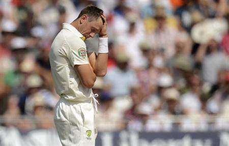 Australia's Pattinson reacts during the first Ashes cricket test match against England in Nottingham, England