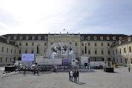 A stage is seen being installed on September 21, in front of the Baroque palace of Ludwigsburg, southwest Germany. France's President Francois Hollande and German Chancellor Angela Merkel will meet on September 22, to mark a watershed 1962 speech by Charles de Gaulle to German youth in Ludwigsburg.