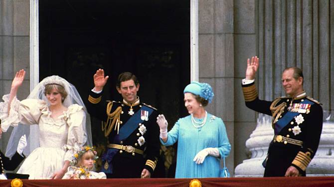 FILE - In this  July 29, 1981 file photo, Prince Charles and his bride Diana, Princess of Wales, and his parents, Queen Elizabeth II and Prince Phillip, wave from the balcony of Buckingham Palace in London after their marriage at St. Paul's Catheral. Starting Saturday, June 2, 2012, Queen Elizabeth II begins a four-day celebration of her 60 years on the throne. (AP Photo, File)