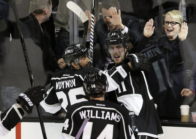 Kings Anze Kopitar celebrates his 2nd period goal against the San Jose Sharks during Game 5 of their NHL Western Conference semi-finals hockey playoff in Los Angeles