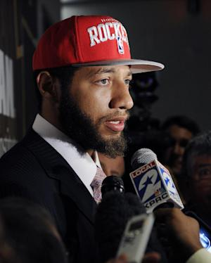 FILE - In this June 29, 2012, file photo, Houston Rockets first-round draft pick Royce White speaks with the media at a newws conference in Houston. White already missed the first week of NBA basketball training camp. He has asked the team to help him cope with his anxiety disorder and his fear of flying. (AP Photo/Pat Sullivan, File)
