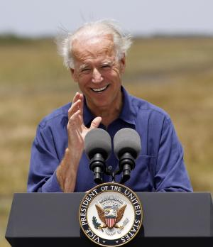 Vice President Joe Biden speaks at the Everglades National Park, Fla., Monday, April 23, 2012. (AP Photo/Alan Diaz)
