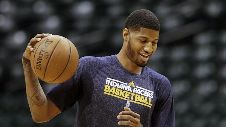 Indiana Pacers' Paul George participates during NBA basketball practice ahead of the Eastern Conference finals Tuesday, May 21, 2013, in Indianapolis. The Miami Heat and the Pacers are scheduled to meet for the second straight postseason starting Wednesday night, with a trip to the NBA Finals awaiting the series winner. (AP Photo/Darron Cummings)