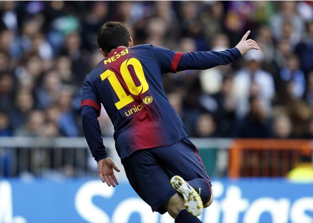 "Barcelona's Messi celebrates after scoring a goal during their Spanish first division ""classico"" match against Real Madrid in Madrid"