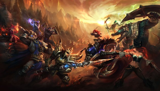 This image provided by Riot Games shows publicity artwork for the videogame &quot;League of Legends.&quot; The dizzying world championships of the online battle arena game &quot;League of Legends&quot; concluded Saturday, Oct. 13, 2012, inside the University of Southern California&#39;s Galen Center, which typically hosts basketball _ not video _ games, with underdog Taiwan&#39;s Taipei Assassins defeating South Korea&#39;s Azubu Frost to win the tournament&#39;s $1 million grand prize. (AP Photo/Riot Games)