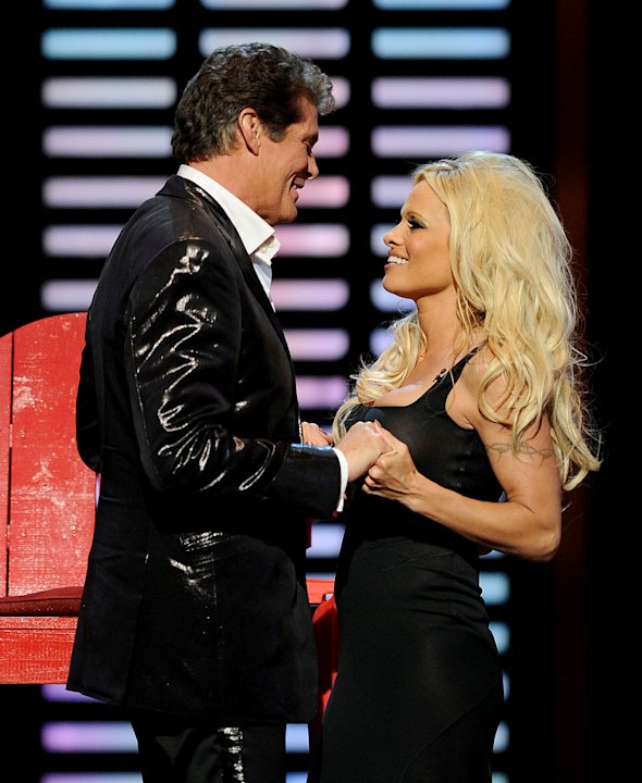 "Pamela Anderson and David Hasselhoff onstage at the ""Comedy Central Roast Of David Hasselhoff"" held at Sony Pictures Studios on August 1, 2010 in Culver City, California."