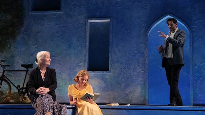 "In this image released by Roundabout Theatre Company, Rosemary Harris, from left, Romola Garai and Bhavesh Patel appear in a scene from Tom Stoppard's ""Indian Ink"", currently performing off-Broadway at the Laura Pels Theatre in New York. (AP Photo/Roundabout Theatre Company, Joan Marcus)"