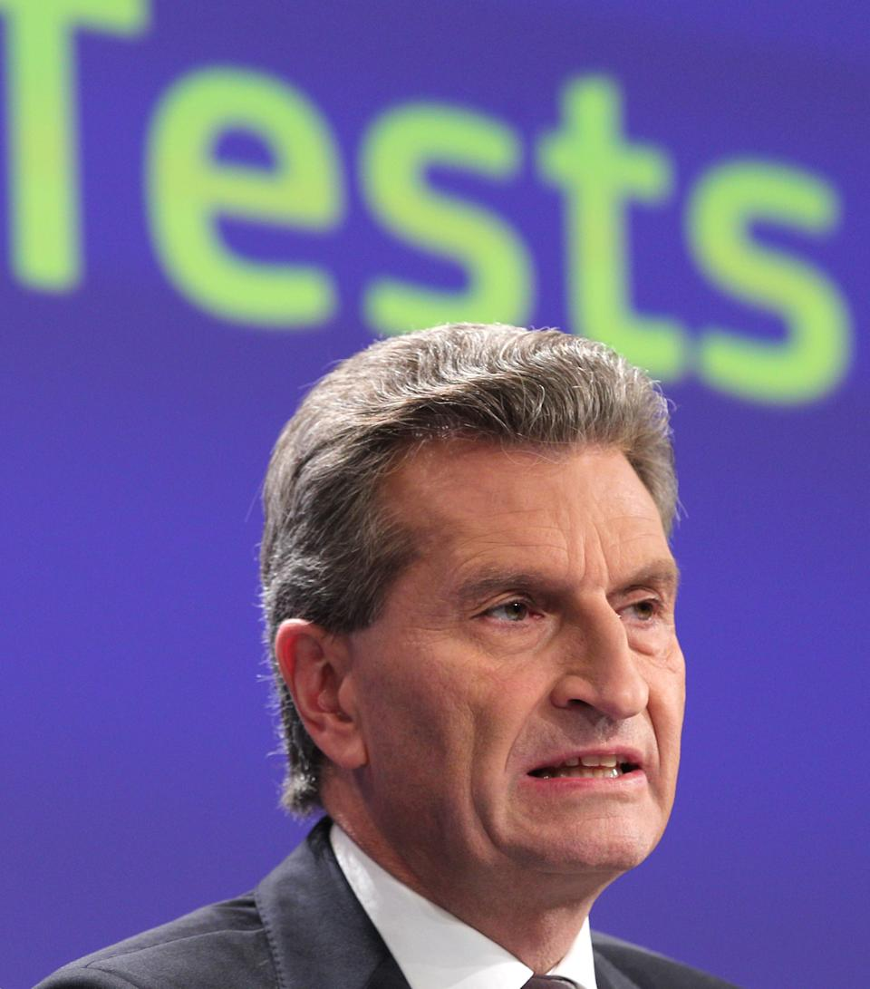 European Commissioner for Energy Guenther Oettinger addresses the media on the risk and safety assessment of nuclear power plants in the EU, at the European Commission headquarters in Brussels, Thursday, Oct. 4, 2012. (AP Photo/Yves Logghe)