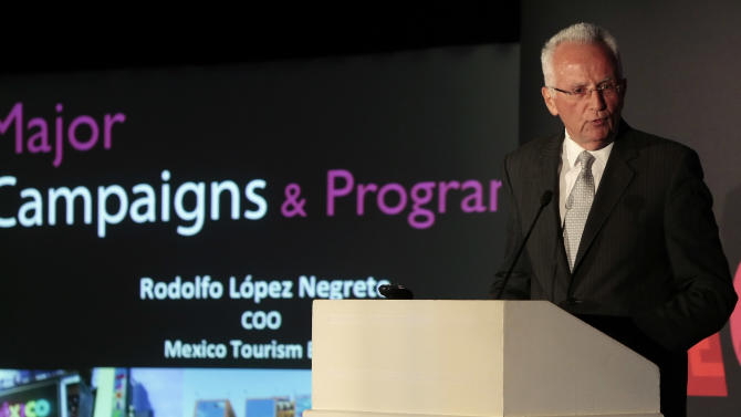 COMMERCIAL IMAGE - In this photograph taken by AP Images for Mexico Tourism, Mexico Tourism Board Chief Operating Officer Rodolfo Lopez-Negrete is seen speaking to the trade industry at the MEX Day event on Monday, July 16, 2012 in Dallas, Texas. (Brandon Wade /AP Images for Mexico Tourism)