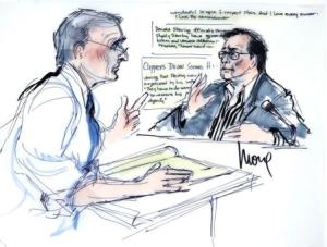 Bert Fields, Shelly Sterling's lawyer, questions husband, Los Angeles Clippers co-owner Donald Sterling, in court, as seen in courtroom sketch in Los Angeles
