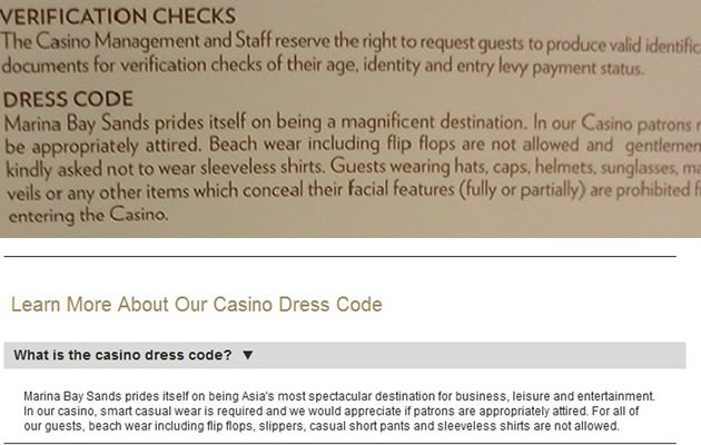 Dress codes are prominently displayed at the entrance (above) and also available online (below) (Yahoo! Photo / Screengrab)