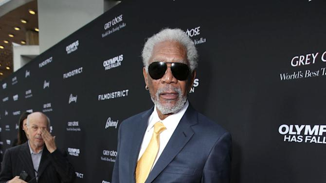 Morgan Freeman at FilmDistrict's Premiere of 'Olympus Has Fallen' hosted by Brioni and Grey Goose at the ArcLight Hollywood, on Monday, March, 18, 2013 in Los Angeles. (Photo by Eric Charbonneau/Invision for FilmDistrict/AP Images)