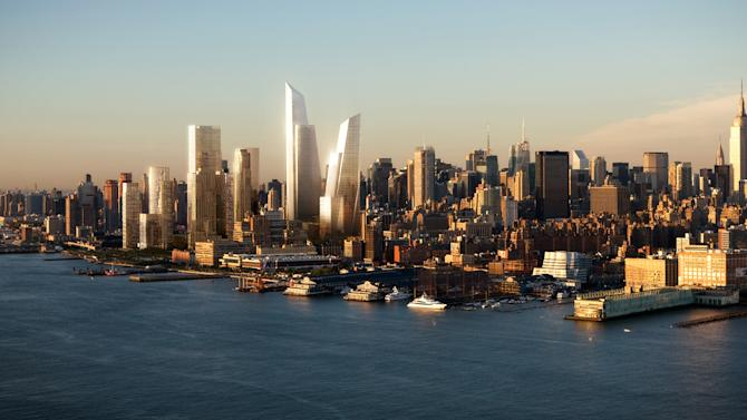 This undated artist's rendering provided by Visualhouse, via Related Companies, shows the planned Hudson Yards urban village, center, that will start rising soon on the acres of land overlooking the Hudson River, with 12 million square feet of real estate space. Bounded by 10th and 12th avenues and West 30th and 33rd streets, it is Manhattan's largest tract of land still available for major development. (AP Photo/Visualhouse via Related Companies)