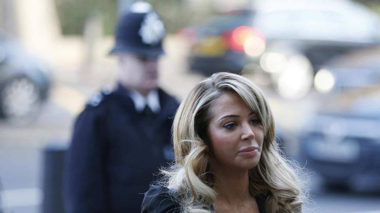 Singer Tulisa Contostavlos arrives at Westminster Magistrates court in central London