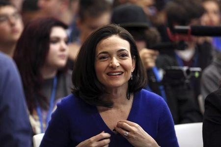 Facebook COO Sheryl Sandberg looks on at the Facebook headquarters in Menlo Park