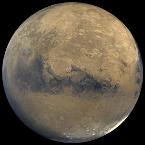This photo released by NASA shows a view of Mars that was stitched together by images taken by NASA's Viking Orbiter spacecraft. The space agency is planning to send a spacecraft similar to the Curiosity rover to the red planet in 2020. A NASA-appointed team released a report on Tuesday, July 9, 2013 that described the mission's science goals. (AP Photo/NASA)